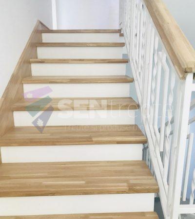 scara placata cu lemn cu o balustrada